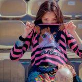 2016韩版秋冬新款 猫咪刺绣图案 圆领条纹针织衫长袖毛衣【免费加盟一件代发】