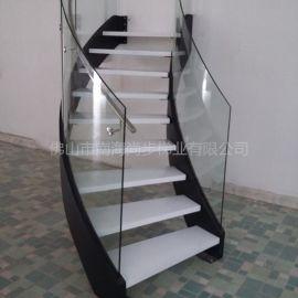 弧形微旋轉樓梯 護欄鋼化玻璃 雙邊鋼板
