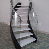 弧形微旋转楼梯 护栏钢化玻璃 双边钢板