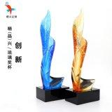 特色琉璃獎盃 廣州企業榮譽證書頒獎表彰 水晶琉璃