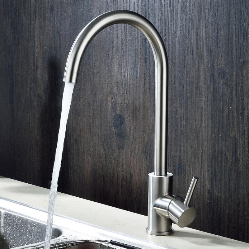 绮美斯卫浴304不锈钢厨房洗菜盆冷热单孔水槽水龙头可旋转