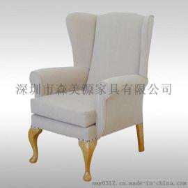 北欧单人沙发布艺酒店沙发迷你老虎椅客厅阳台沙发