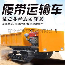 履带自卸运输车小型橡胶履带爬山虎多地形农用运输车