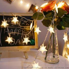 LED五角星圣诞珠光星彩灯 节日婚庆橱窗装饰灯串