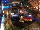 出售浙江杭州網紅餐廳綠茶餐飲船 室內吃飯的仿古木船