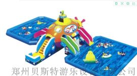 河南大型的儿童水乐园充气水滑梯水池一套配齐