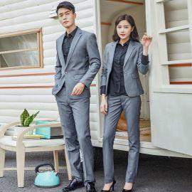職業套裝男女款2019新款西服套裝OL通勤兩扣辦公室工裝制服定做