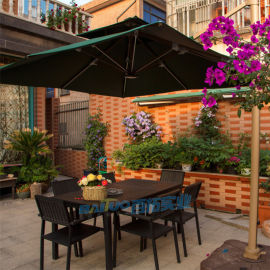 户外桌椅塑木仿木桌椅室外咖啡厅桌椅组合休闲露天桌椅