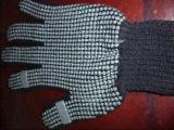 7针黑色棉纱点塑劳保手套(中码)