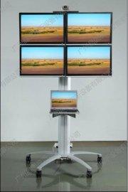 挂四屏14-24寸显示器移动支架款/电脑显示器电视机支架落地万向落地升降移动推车