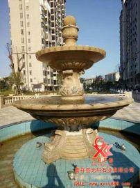 石雕喷泉定做 晚霞红石雕风水球