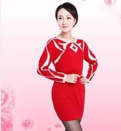 新款圆领长袖 撞色嵌花女装羊绒裙R1307YR1323