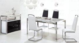 白色大理石不锈钢餐桌