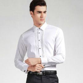 供应2019新款男士长袖衬衣,专业定做免烫折混纺提花商务衬衫工装