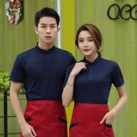 西餐酒店服务员工作服立领T恤短袖透气餐饮火锅店奶茶店定制LOGO