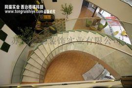 现代简约式的弧形外挂式玻璃楼梯扶手  厂家直销