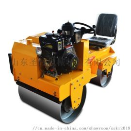 圣时0.8吨座驾式压路机 全液压双轮驱动压路机自销