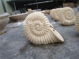 海螺雕塑 砂岩海螺圆雕喷水摆件 海洋馆喷水雕塑