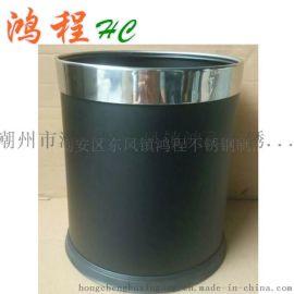 单层黑色烤漆圆形金属客房垃圾桶卫生桶宾馆酒店KTV包厢不锈钢桶