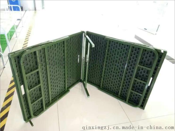 钢塑两折床 钢塑折叠床 军绿色便携式折叠床 户外办公便捷床
