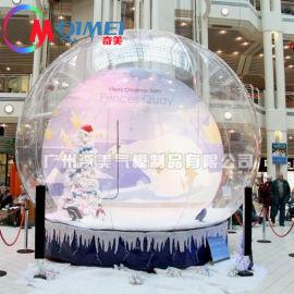定做圣诞节水晶球气模大型充气透明球PVC充气雪花球