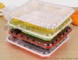 厂家销售一次性饭盒红黑四格快餐盒外卖打包盒 环保盒
