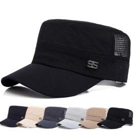 韩版棒球帽平顶帽子户外防晒军帽网眼透气太阳帽速干鸭舌帽定做