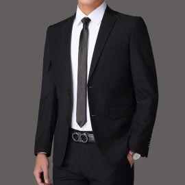酒店经理西服男士套装修身商务正装结婚面试西装职业装黑色定做
