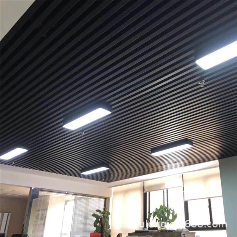 火鍋店木紋鋁方通天花吊頂 餐廳條形鋁型材-中式餐廳木紋鋁方管