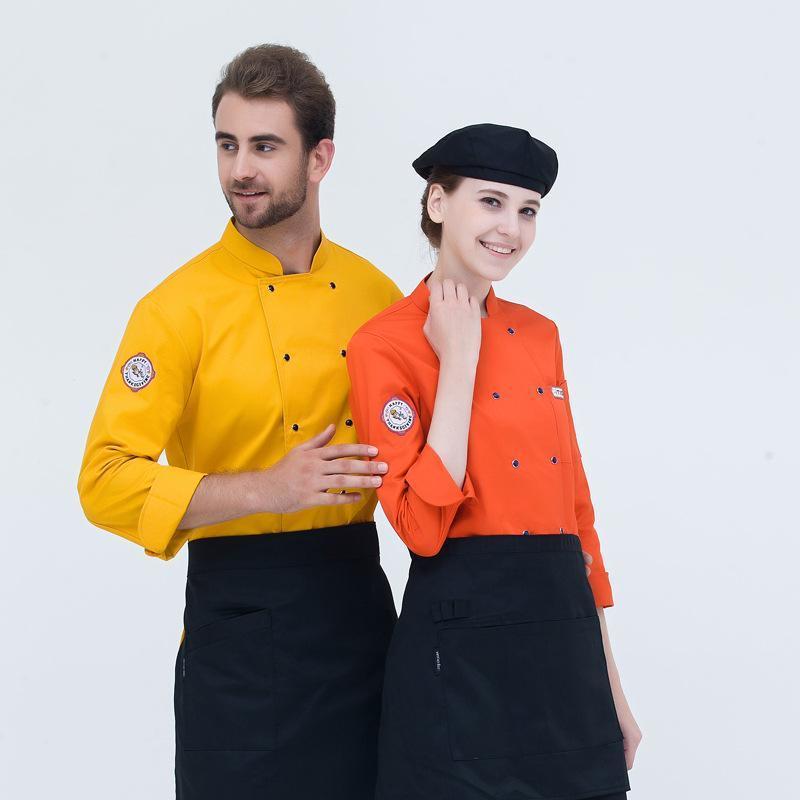 秋冬装厨师服工作服长袖西餐厅蛋糕店烘焙师工服可来图定制企业标