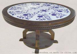 提供手绘青花瓷板图片_实木家具镶嵌瓷板案例_景德镇万业陶瓷厂
