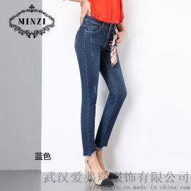 服装开店拿货纤牌春季高腰牛仔裤折扣货源