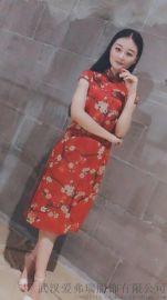 旗袍服装进货【现货】雾道网纱高腰连衣裙