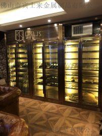 酒庄会所恒温酒柜定做不锈钢红酒柜LED恒温酒柜厂家