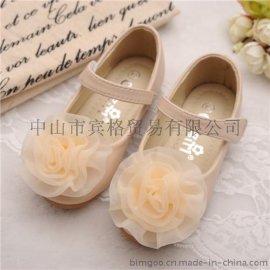 品牌**鞋**鞋批发 新款透气单鞋韩版珍珠蝴蝶结公主鞋现货