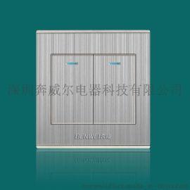 奔威开关插座,LED点式墙壁开关,LED轻触点式二位开关面板