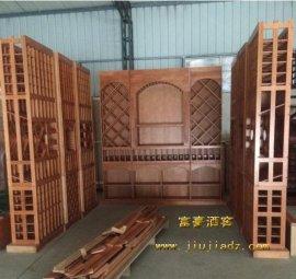 红酒卖场松木实木红酒架定制