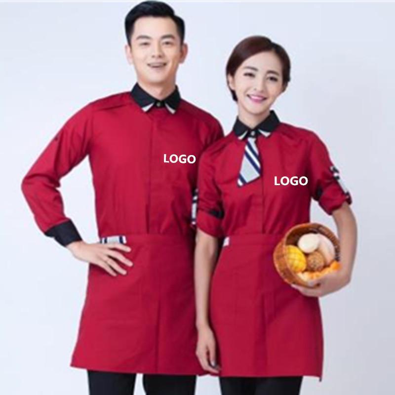 酒店工作服秋冬装男女女餐饮饭店咖啡厅服务员长袖工作服定制LOGO