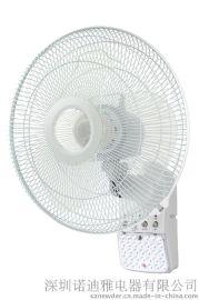 供应289A 可遥控16英寸可充电挂壁风扇 带LED应急照明灯