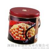 杏仁餅鐵罐帶手提 薄脆餅幹馬口鐵盒 夾心餅幹鐵盒