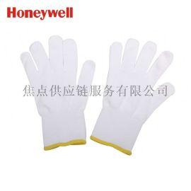 霍尼韦尔正品 腈涤加厚耐磨劳保白手套 基础施工防护2132202 9寸