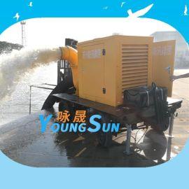 防汛排涝移动泵车350HW-8移动式柴油机排污泵 14寸柴油水泵