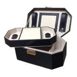 定做首饰盒八角黑色手表耳钉戒指通用高档收纳盒带镜子