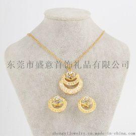 东莞盛意 外贸饰品原创丝网水晶项链套装欧美合金首饰开发定制