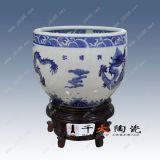 龍珠缸,陶瓷魚缸,手繪青花瓷帶底座,龍珠缸噴泉魚缸圖