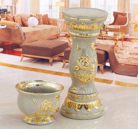 陶瓷花盆,罗马柱花盆,电镀金砂花盆花插花瓶工艺品,创意家居摆饰品
