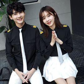 定做春夏季时尚韩版白色长袖衬衫海军制服活动班服男女时尚情侣装