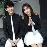 定做春夏季時尚韓版白色長袖襯衫海軍制服活動班服男女時尚情侶裝
