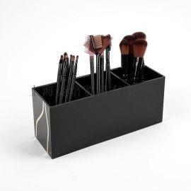 **热销 亚克力化妆品收纳盒 黑色笔筒化妆刷展示架