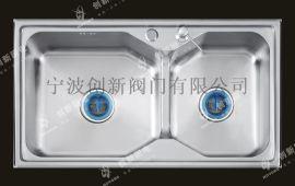 创新群松304不锈钢水槽双槽洗菜盆